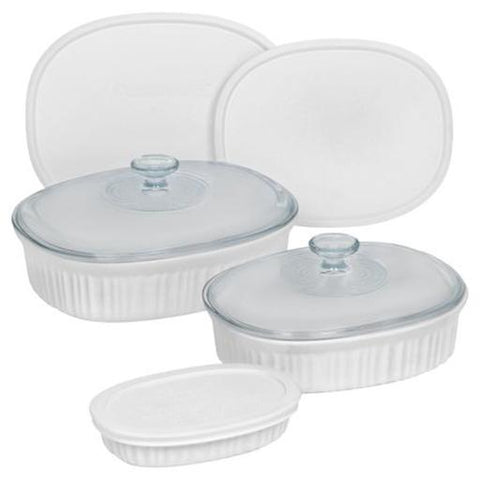 French White Oval Bakeware Set, 8 Piece