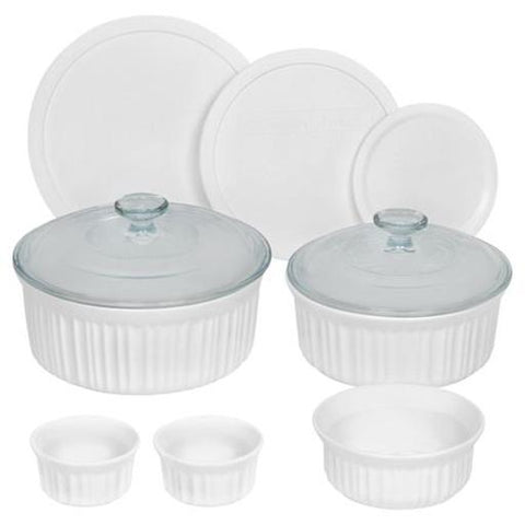 French White Round Bakeware Set, 10 Piece