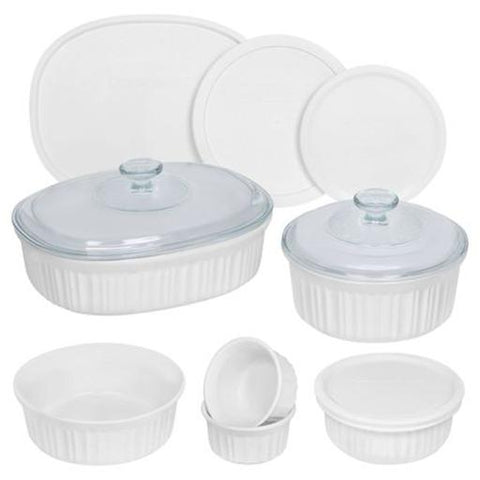 French White Round & Oval Bakeware Set, 12 Piece
