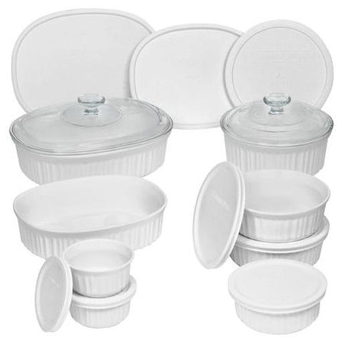 French White Round & Oval Bakeware Set, 18 Piece