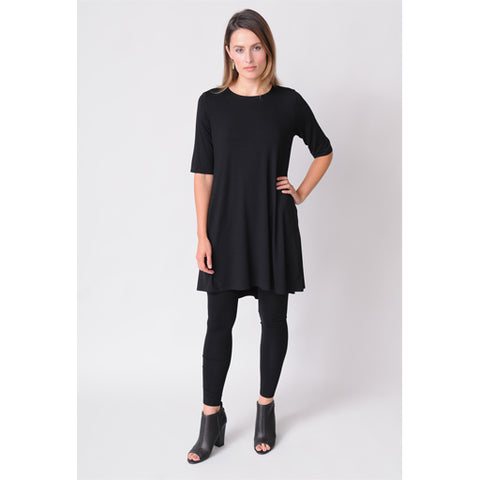 Round Neck Elbow-Sleeve Tunic in Lightweight Viscose Jersey