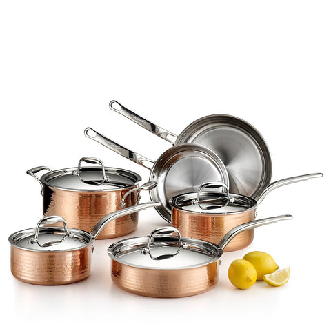 Martellata Tri-Ply Hammered Copper Cookware Set, 10 Piece