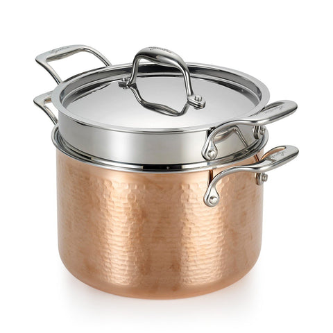 Martellata Tri-Ply Hammered Copper Pastaiola Set, 6 Quart
