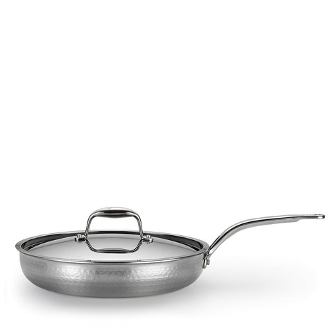 "Martellata Tri-Ply Hammered Stainless 12"" Covered Skillet"