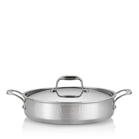 Martellata Tri-Ply Hammered Stainless Covered Casserole, 5 Quart