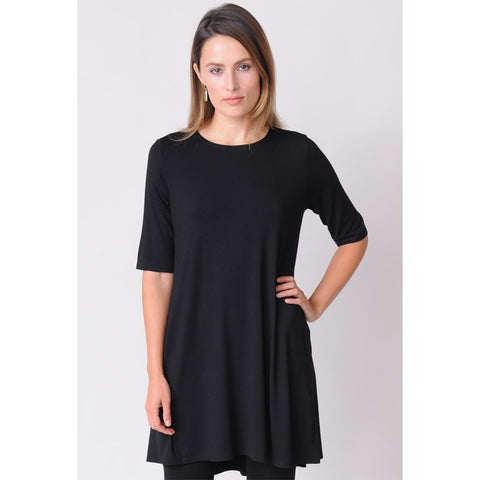 bbe51938ae2e7 Eileen Fisher Round Neck Elbow-Sleeve Tunic in Lightweight Viscose ...