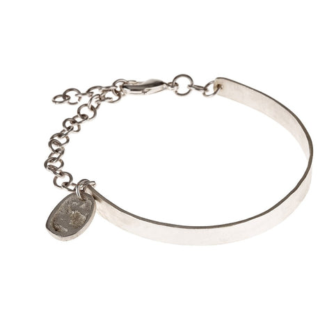 Chain Detail Bangle in Silver