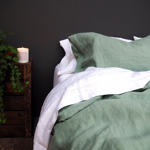 Linen Pillowcase (Pair), Sage Green
