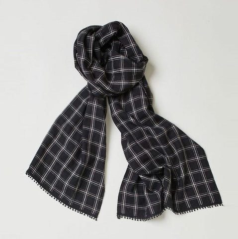 Harriet Organic Hemp Check Scarf