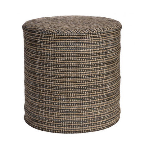 Handwoven Recycled Rubber Indoor/Outdoor Pouf