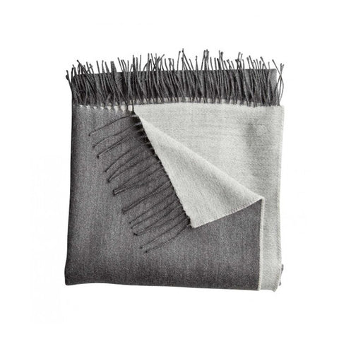 Reversible Fringed Baby Alpaca Throw