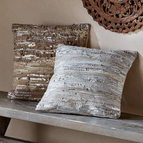 Scrap Leather Throw Pillow Collection