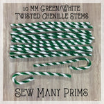 Chenille Stems, green/white twisted, 10mm - 12/pk - Sew Many Prims
