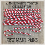 Chenille Stems, red/white twisted, 10mm - 12/pk - Sew Many Prims
