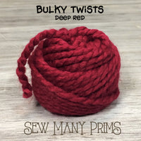ball of red bulky twisted yarn