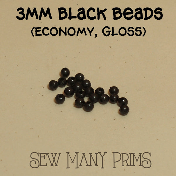 3mm plastic black beads with gloss finish