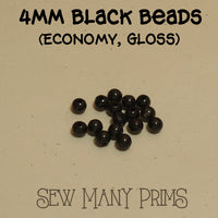 4mm plastic black beads with gloss finish