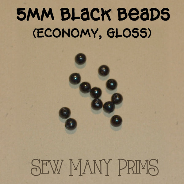 5mm plastic black beads with gloss finish
