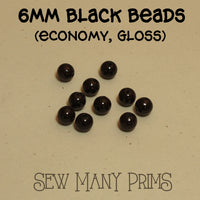 Black Beads, 6mm - Sew Many Prims