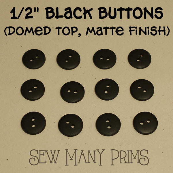 "Black Buttons - 1/2"", 12/pk - Sew Many Prims"
