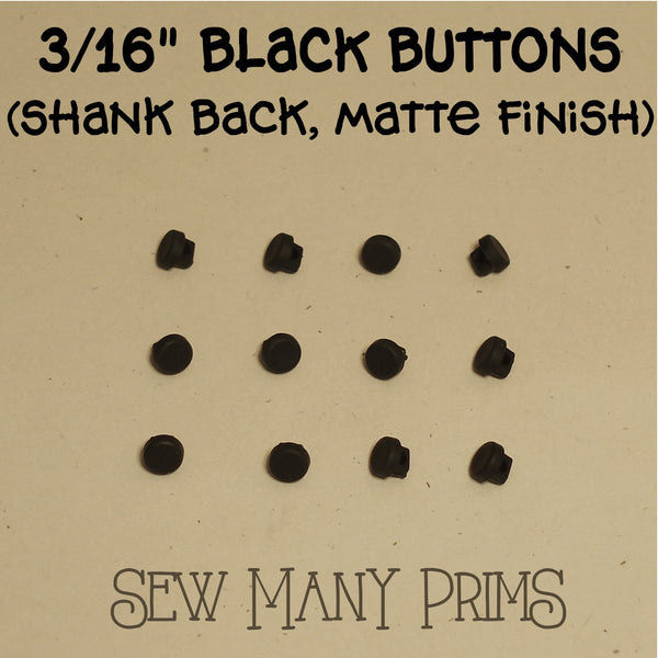 "black buttons 3/16"", shank back, matte finish"
