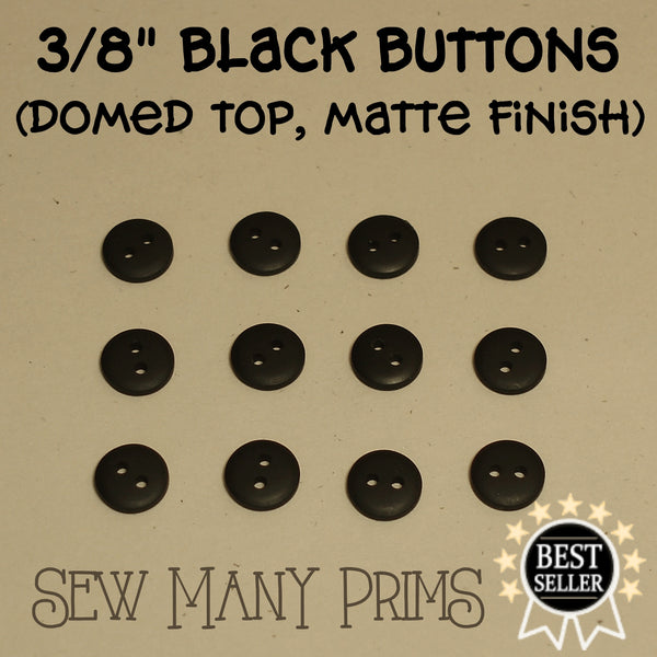 "Black Buttons - 3/8"", 12/pk - Sew Many Prims"