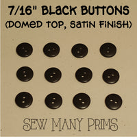 "Black Buttons - 7/16"", 12/pk - Sew Many Prims"