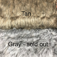 "Faux Fur, gray or tan - 9"" x 18"" piece - Sew Many Prims"