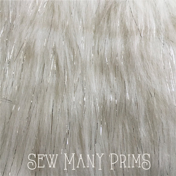 "Faux Fur, white with silver tinsel - 12""x20"" - Sew Many Prims"