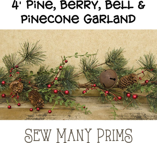 Pine Garland with Berries & Bells - 4 ft - Sew Many Prims
