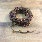 Pip Berry Garland - Burgundy & Gold, Single Strand, 6 yds - Sew Many Prims