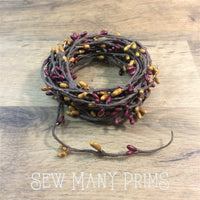 CLEARANCE Pip Berry Garland - Burgundy & Gold, Single Strand, 6 yds - Sew Many Prims