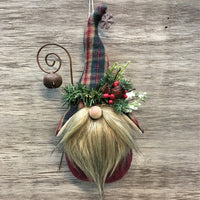 "Handmade Rustic Gnome Ornament, 7.5"" tall - Sew Many Prims"