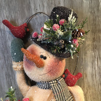 "18 1/2"" Snowman Indoor Door Greeter with Cardinals - Sew Many Prims"
