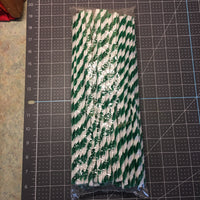 Chenille Stems, green/white twisted, 8mm - 100/pk - Sew Many Prims