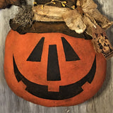 "22"" Jack-O-Lantern Door Greeter with Crows - handmade doll - Sew Many Prims"