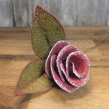burlap glitter rose side view