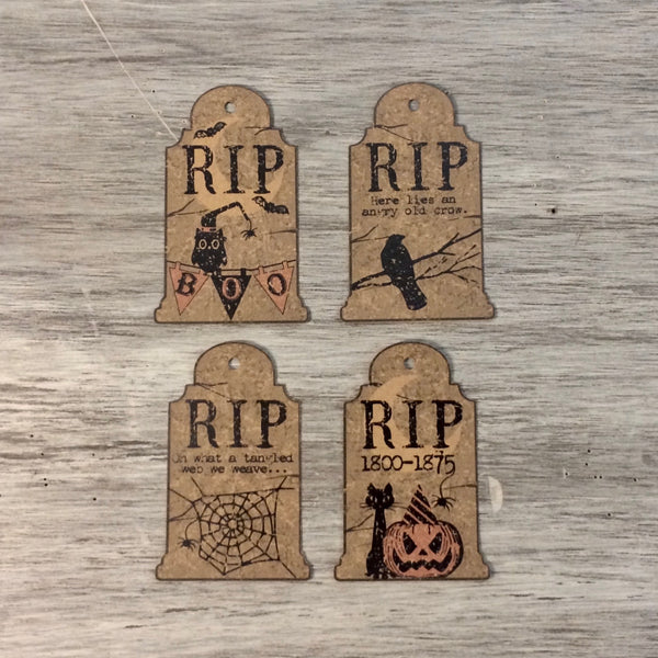 RIP Tombstone Tags, 4/pk