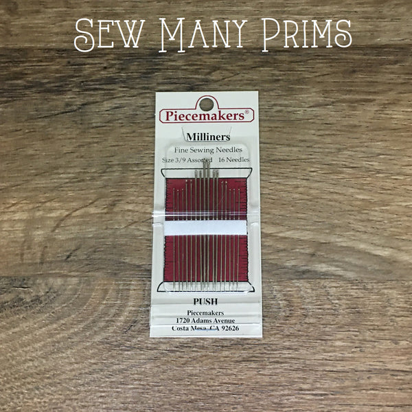 Milliners Sewing Needles - Assorted Sizes (3/9), 16/pk - Sew Many Prims
