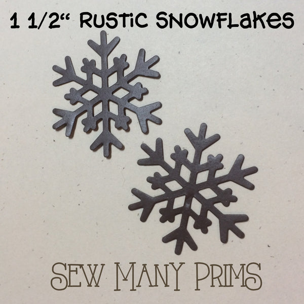 "Rustic Brown Snowflakes, 1 1/2"" - Sew Many Prims"
