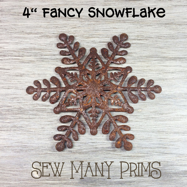 rusty snowflake with intricate cutout design