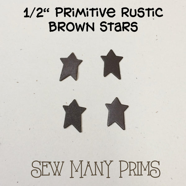 "Rustic Brown Stars - 1/2"", 4/pk - Sew Many Prims"