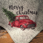 "Red Truck with Tree Christmas Throw, 50"" x 60"" - Sew Many Prims"