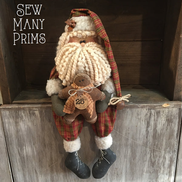 "18"" Santa Shelf Sitter with Gingerbread Man - Sew Many Prims"