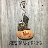 Snowman Head Ornie with Whimsical Hanger