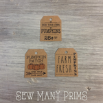Prim Pumpkin Trio Tags, 12/pk - Sew Many Prims