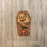 Coffin Tags - Happy Halloween Jack O Lantern Bats Moon