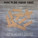 Mini Flag Hang Tags - kraft, 12/pk - Sew Many Prims