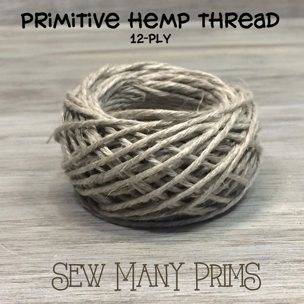 Hemp Thread - natural, 12-ply, 15 yds - Sew Many Prims