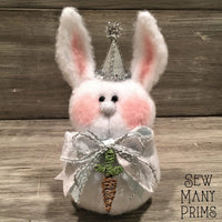 "Vintage Winter Bunny Sitter, 8"" tall - Sew Many Prims"